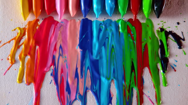 ld crayons melting and dripping on a white piece of paper - melting stock videos & royalty-free footage