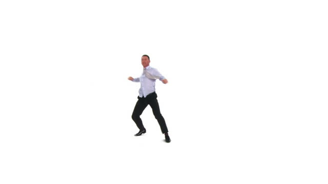 hd: crazy businessman dancing - white background stock videos & royalty-free footage