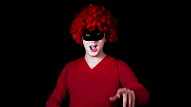 crazy dancer in red afro HD