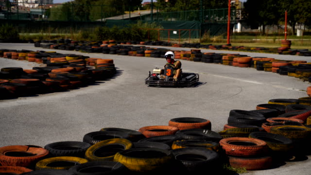 crazy drive and adrenaline attack-go carting drive - go cart stock videos & royalty-free footage