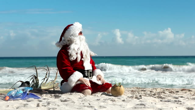 crazy santa beach - funny merry christmas greetings stock videos and b-roll footage