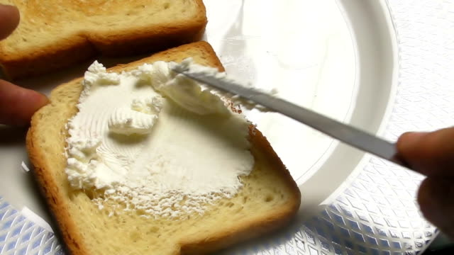 cream cheese breakfast - toasted bread stock videos & royalty-free footage