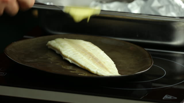 Cream sauce on poached sole