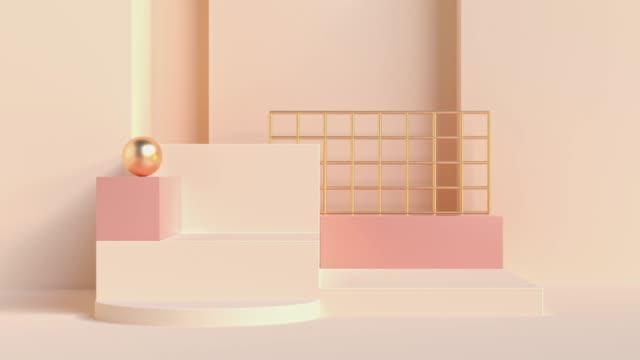 vídeos de stock e filmes b-roll de cream/pink wall steps scene abstract geometric shape 3d rendering motion background - pastel