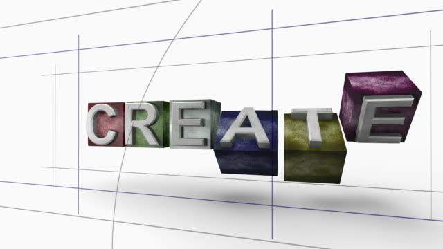 Erstellen Sie Wort 3D Blocks Grafik Konzept