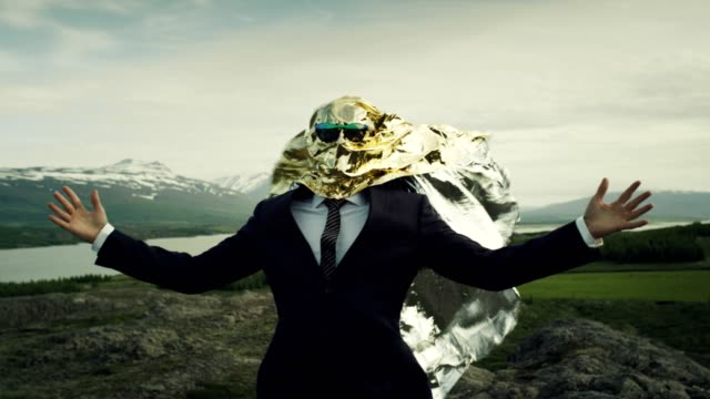 creative businessman concept. gold head full of ideas - visual impairment stock videos & royalty-free footage
