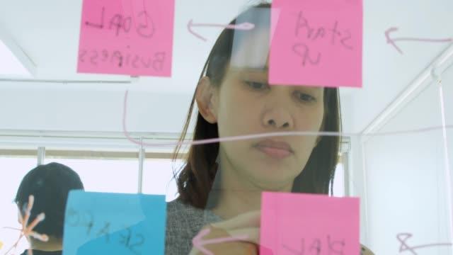 vidéos et rushes de femme d'affaires créative idées travaillant ensemble partage de données au bureau de verre moderne de remue-méninges - voix