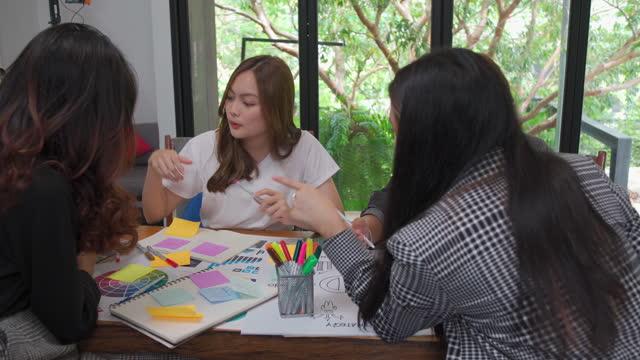 vidéos et rushes de concepteur créatif travaillant et écrivant plan à la carte de données et trouver idée de travailler ensemble au bureau. - étude de marché