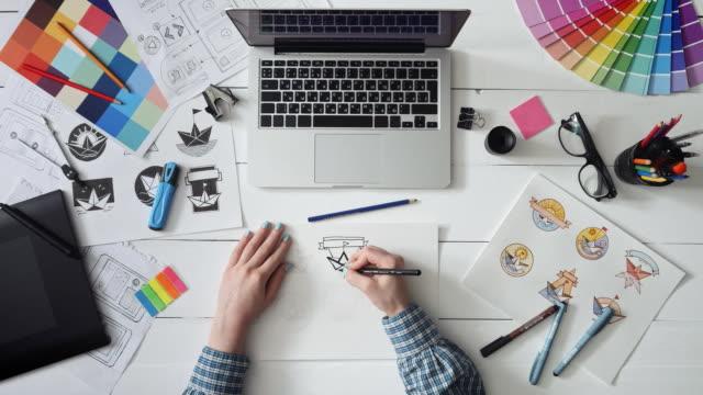 Creative designer working on a logo design