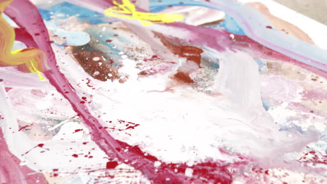 creative messy painting - freshly painted stock videos & royalty-free footage