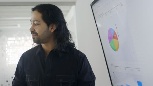 Creative mixed race businessman talking about pie chart in meeting