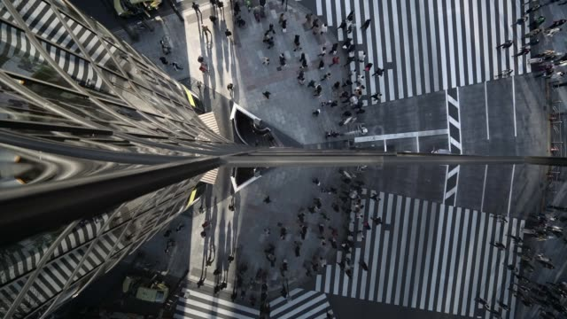 creative reflective shot of pedestrians crossing road in tokyo - major road bildbanksvideor och videomaterial från bakom kulisserna