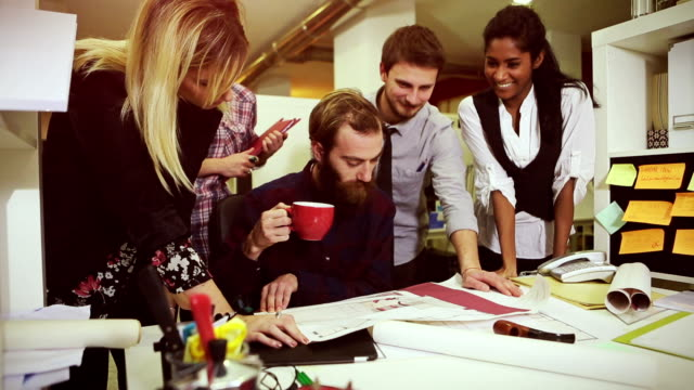 Creative teamwork group in the startup office