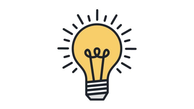 creative thinking‎ flat line icon animation with alpha - electric lamp stock videos & royalty-free footage