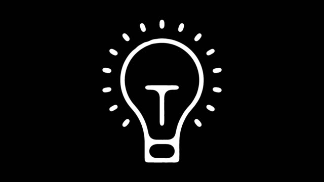vídeos de stock e filmes b-roll de creative thinking line icon animation with alpha - light bulb