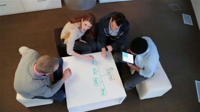 Creative young business people write and discuss ideas around white-board table in large corporate office common area