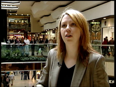 Queensgate Centre INT Samantha Owens towards in shopping centre and interview SOT a rate tart is someone who switches from card to card taking...