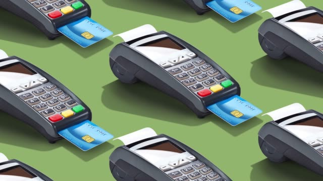 credit card reader on color background - plain background stock videos & royalty-free footage