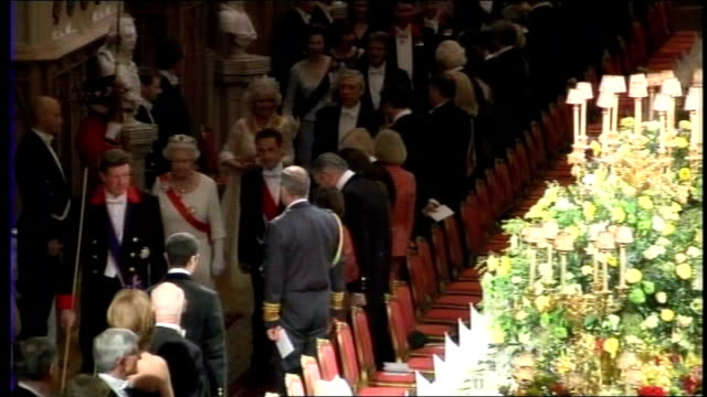 credit crunch/ rise in cost of royal family; england: london: windsor castle: int queen elizabeth ii and french president nicholas sarkozy at state... - state dinner stock videos & royalty-free footage