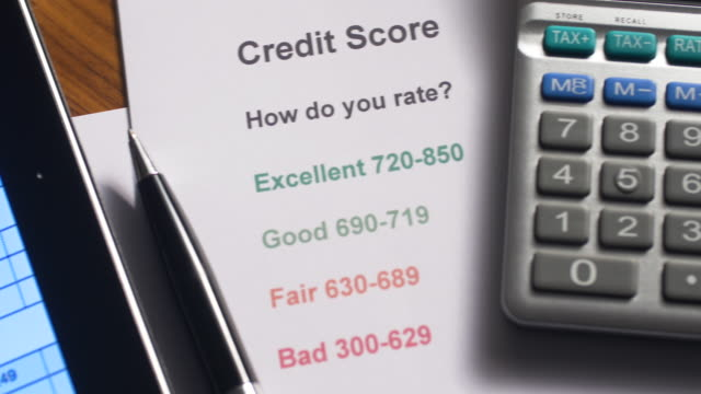 credit score document - credit card purchase stock videos & royalty-free footage