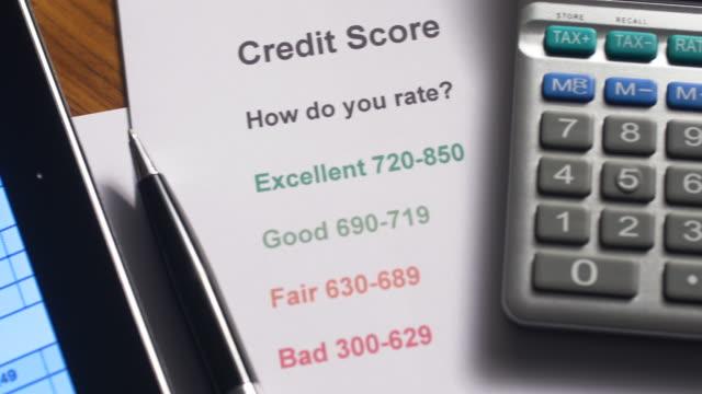 credit score document - scoring stock videos & royalty-free footage