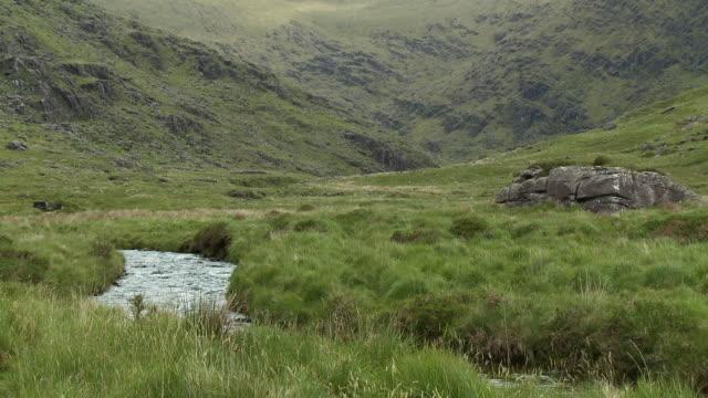 creek flowing next to steep meadow - gebäudefries stock-videos und b-roll-filmmaterial