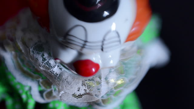 Creepy clown distorted by lens