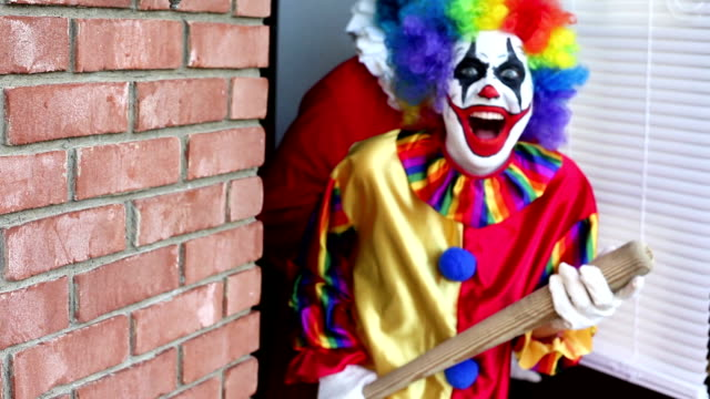 creepy clowns on the loose - baseball bat stock videos & royalty-free footage