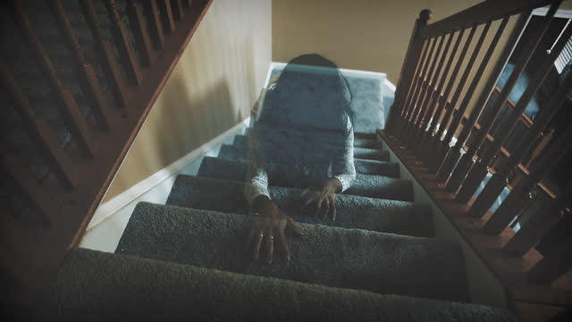 creepy female spirit crawling up stairs - white dress stock videos & royalty-free footage
