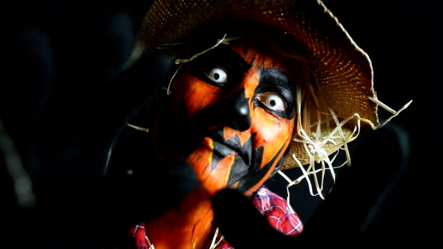 creepy scarecrow jack o'lantern halloween character - contact lens stock videos and b-roll footage