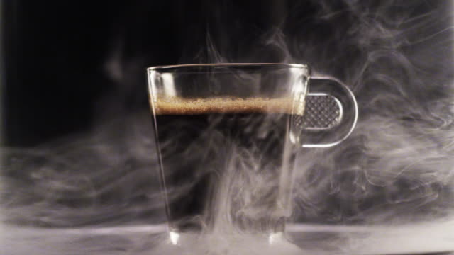 Crema (black coffee) in a glass