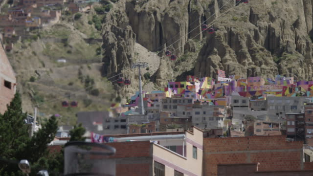crematorium chimney and moving aerial cable cars / la paz, bolivia - la paz bolivia stock videos & royalty-free footage