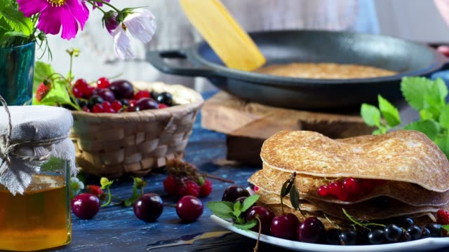 crepes with fresh berries - crepe stock videos & royalty-free footage