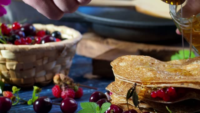 crepes with fresh berries - stack of plates stock videos & royalty-free footage
