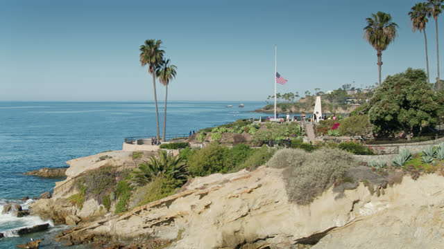 crescent bay point park in laguna beach, california - aerial - laguna beach california stock videos & royalty-free footage