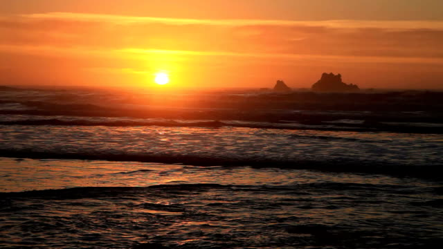 crescent beach sunset - saturated color stock videos and b-roll footage