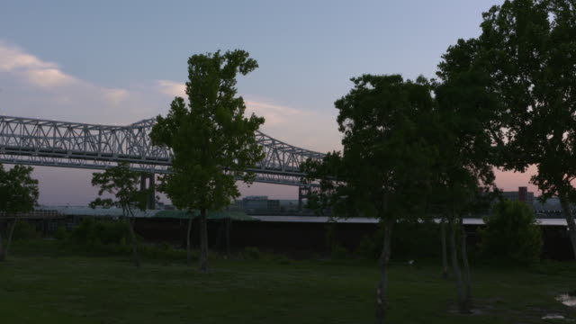 Crescent City Connection at dusk New Orleans Louisiana USA on Tuesday May 9 2017