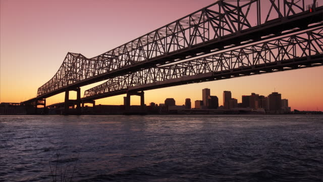 Crescent City Connection Bridge & New Orleans City Skyline at Nigh