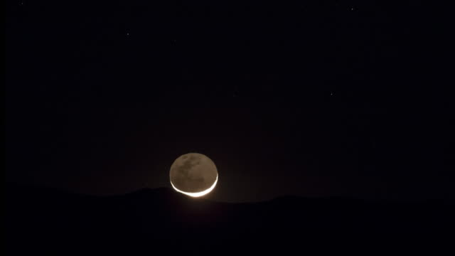 crescent moonrise - cerro paranal stock videos and b-roll footage