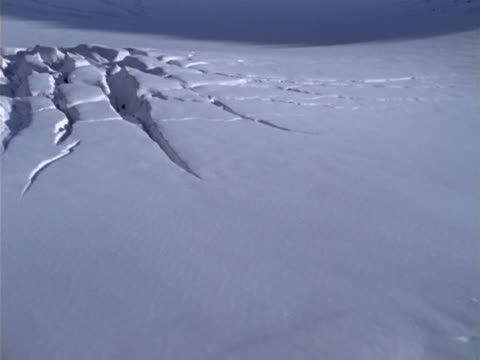 crevasses in a mountain snowfield - crevice stock videos & royalty-free footage