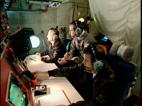 ms crew in us coast guard c-130 hercules, international ice patrol over atlantic ocean, st john's, newfoundland, canada - coast guard stock videos and b-roll footage
