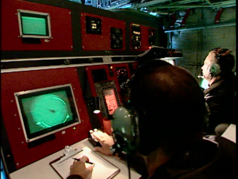 cu pan crew in us coast guard c-130 hercules, international ice patrol over atlantic ocean, st john's, newfoundland, canada - radar stock videos & royalty-free footage