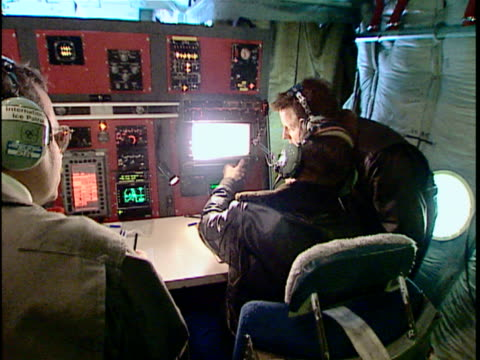 ms zo crew in us coast guard c-130 hercules, international ice patrol over atlantic ocean, st john's, newfoundland, canada - coast guard stock videos and b-roll footage