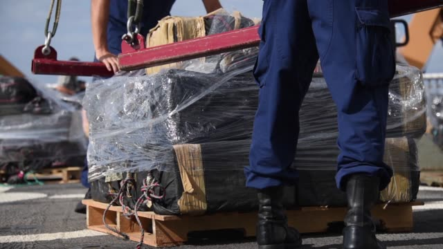 crew members of the coast guard cutter stratton offload 11 tons of cocaine in san diego october 3 2018 the drugs were seized during the interdiction... - segelmannschaft stock-videos und b-roll-filmmaterial