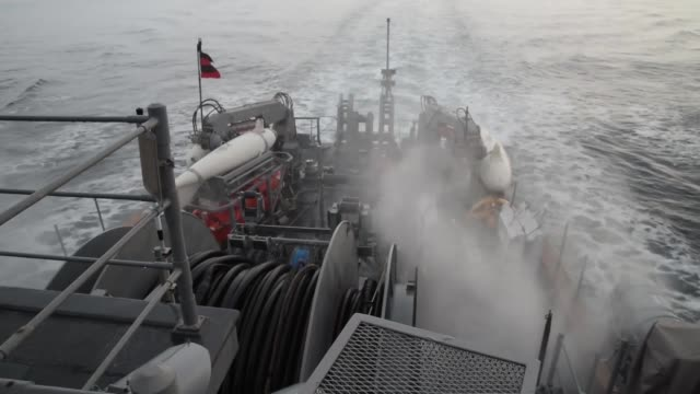 crew of the avenger-class mine countermeasures ship uss chief during a board of inspection and survey . uss chief is undergoing insurv to examine the... - military ship stock videos & royalty-free footage