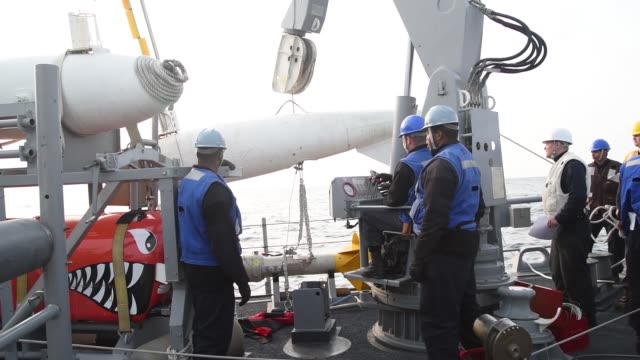 Crew of the Avengerclass mine countermeasures ship USS Chief during a Board of Inspection and Survey USS Chief is undergoing INSURV to examine the...