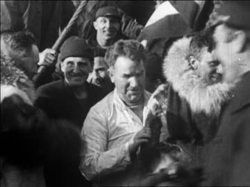 crew shaking hands with admiral richard e. byrd after flight over north pole / newsreel - 1926 stock videos & royalty-free footage