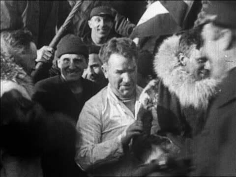 b/w 1926 crew shaking hands with admiral richard e byrd after flight over north pole / newsreel - 1926 stock videos & royalty-free footage