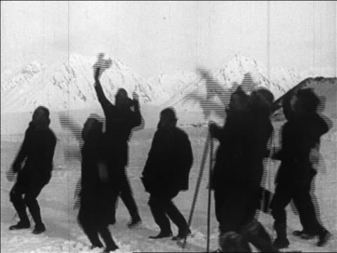 b/w 1926 crew tossing hats in air as byrd's plane returns from flight over north pole / newsreel - 1926 stock videos & royalty-free footage