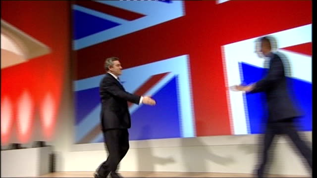 crewe and nantwich by-election: conservative victory; 2007 tony blair shaking with brown on stage - ナントウィッチ点の映像素材/bロール